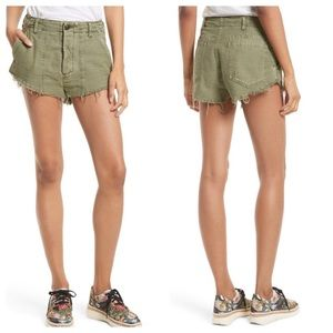 Free People Moss Green Cotton Cut Off Shorts NWT